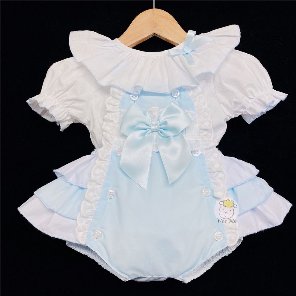 * Baby Girl Spanish Blue Frilly Back Romper Suit